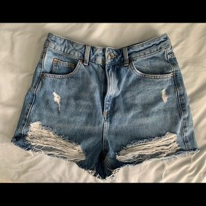 Topshop Distressed Super High Rise Mom Shorts
